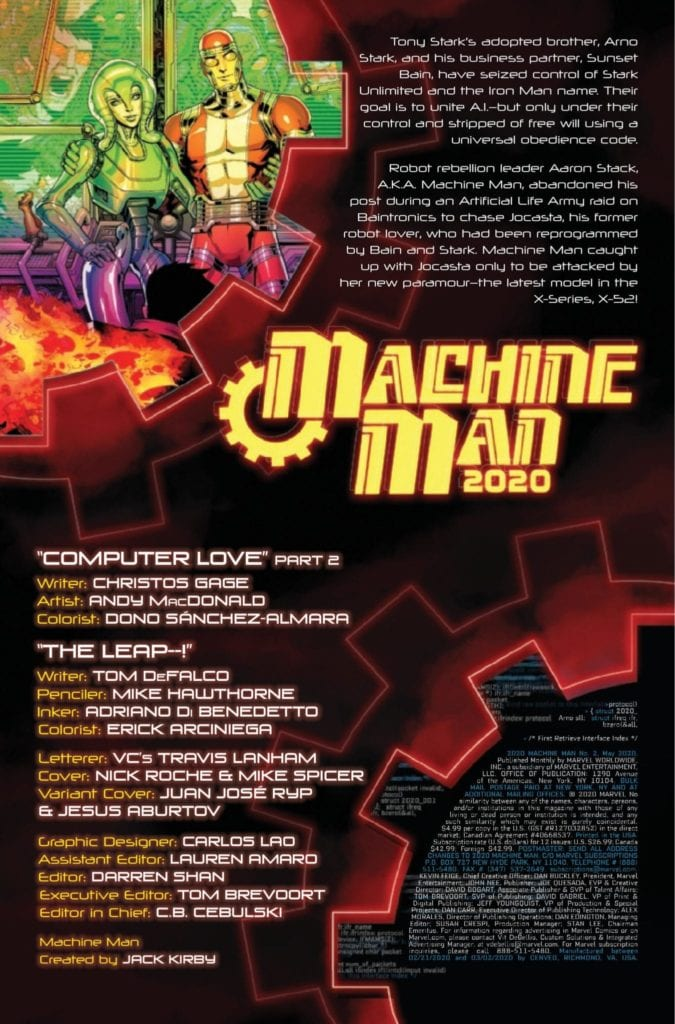 Exclusive Marvel Comics Preview: 2020 MACHINE MAN #2 (OF 2)