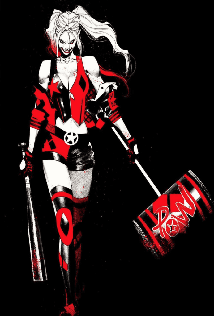 Harley Quinn Black White Red