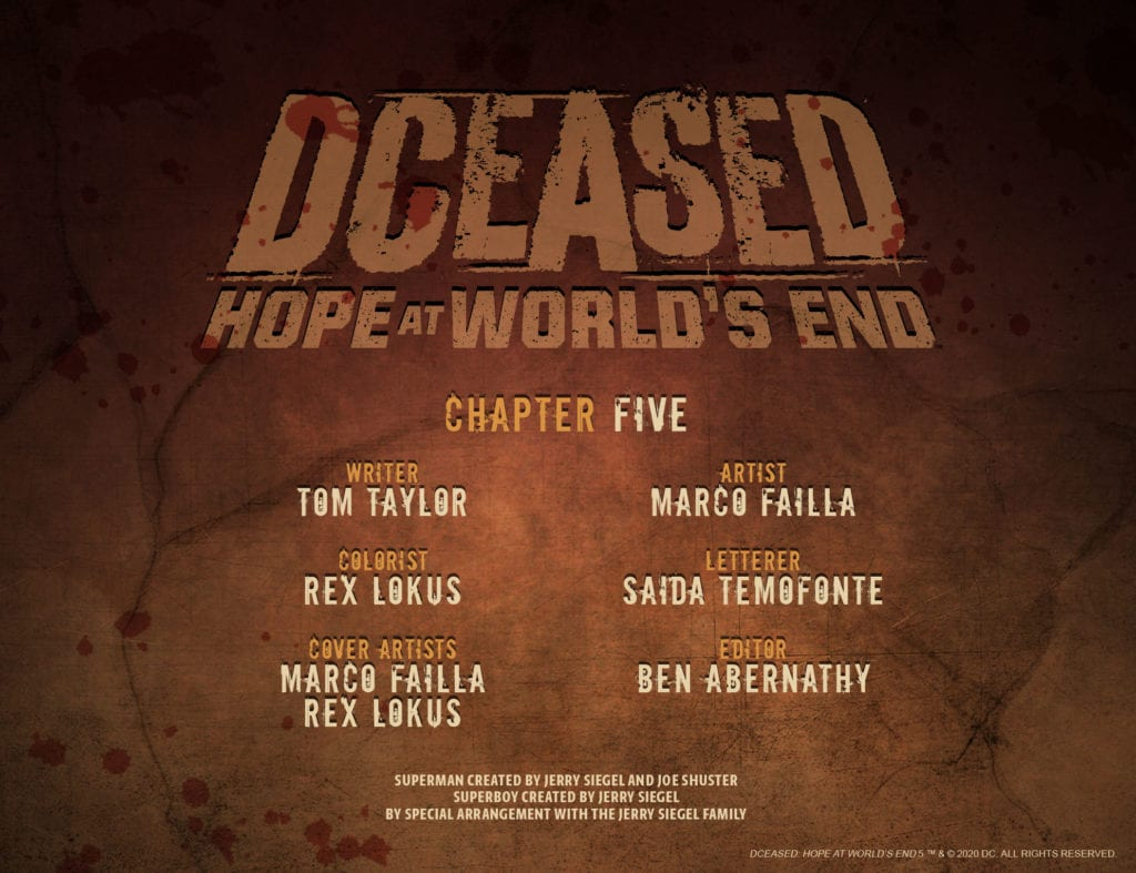 DCeased Hope At World's End #5, credits