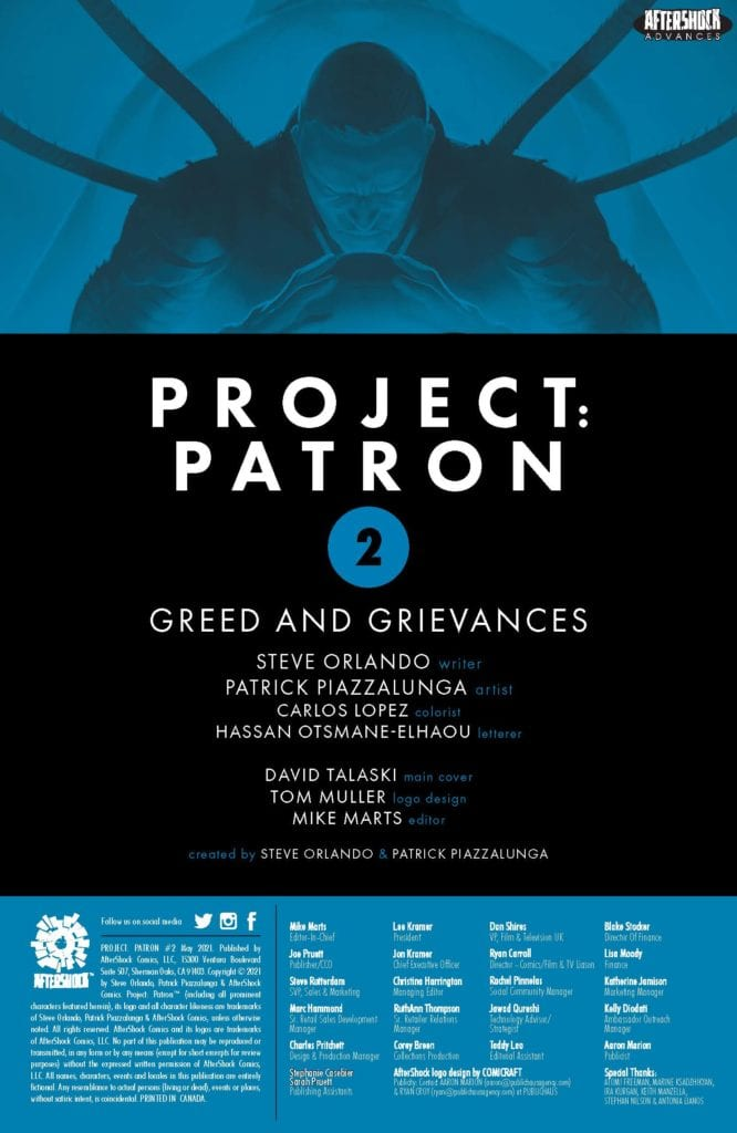 Exclusive 4-Page Preview: PROJECT PATRON #2 by Steve Orlando & Patrick Piazzalunga