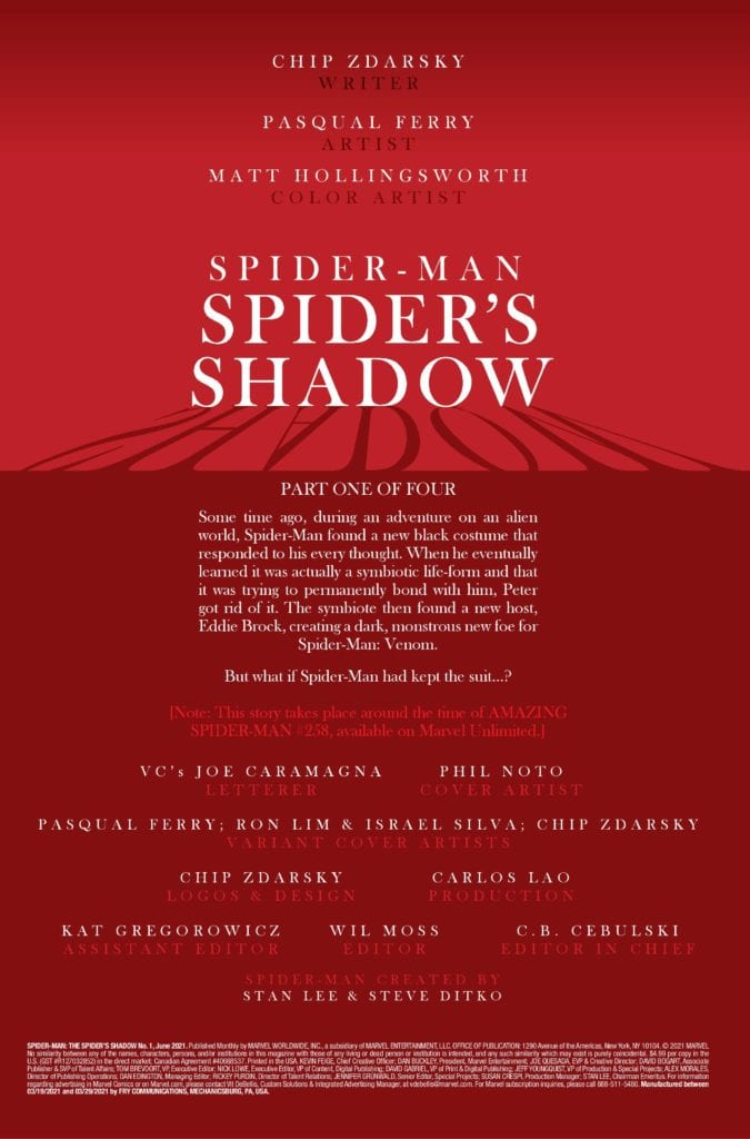 SPIDER-MAN SPIDERS SHADOW #1 (OF 4)